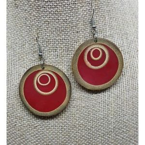 Bamboo Slice Red Filled Earrings